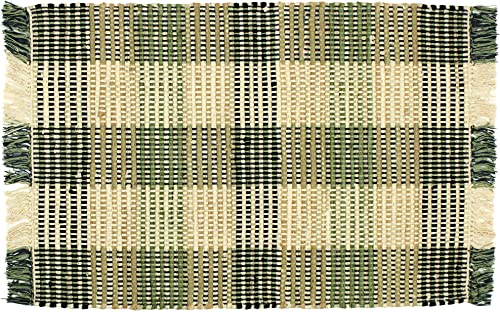 Williamsburg Booker Plaid Black and Khaki Rag Rug
