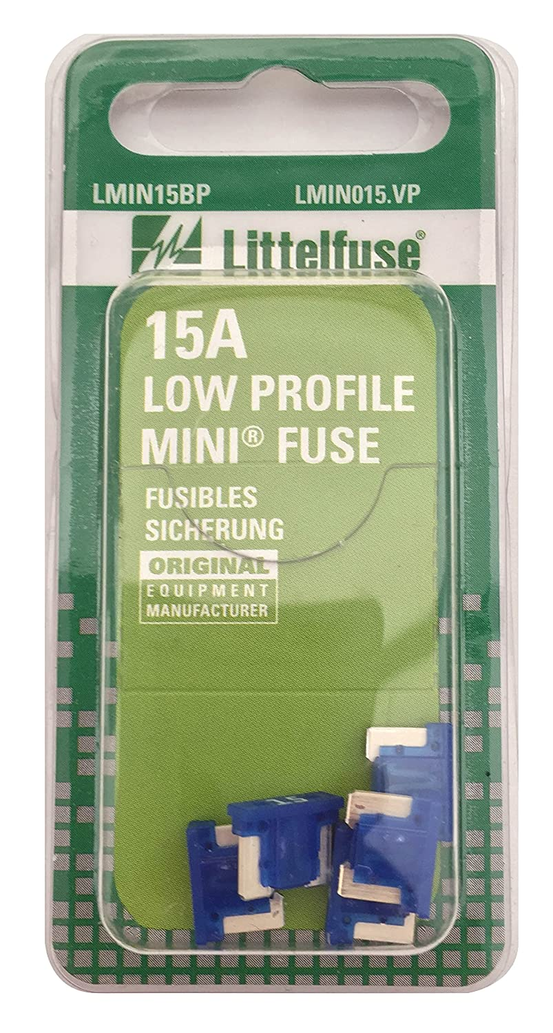 Littelfuse LMIN015.VP MINI Low Profile 15 Amp Carded Blade Fuse, (Pack of 5)