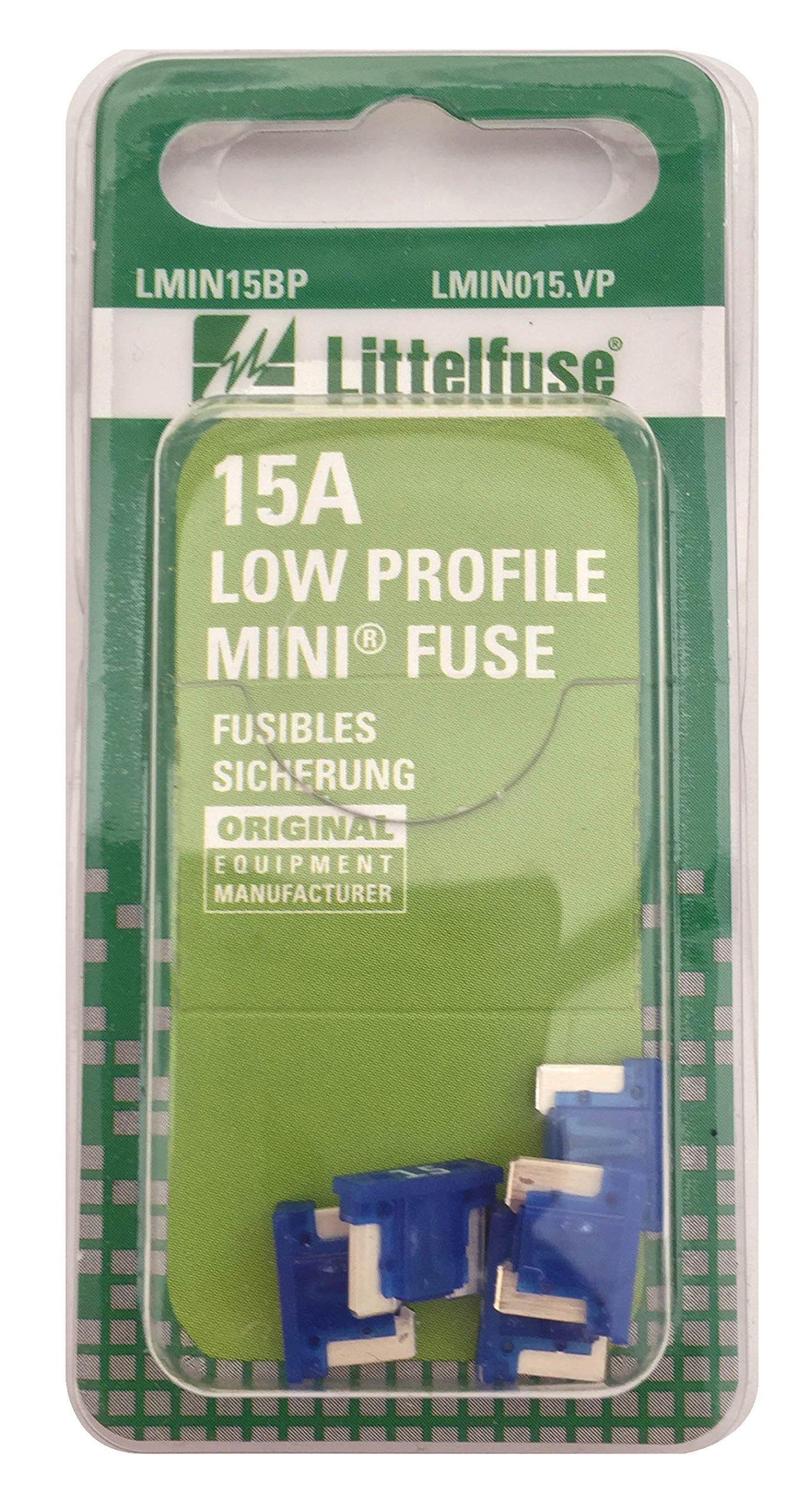 Littelfuse LMIN015.VP MINI Low Profile 15 Amp Carded Blade Fuse, Pack of 5