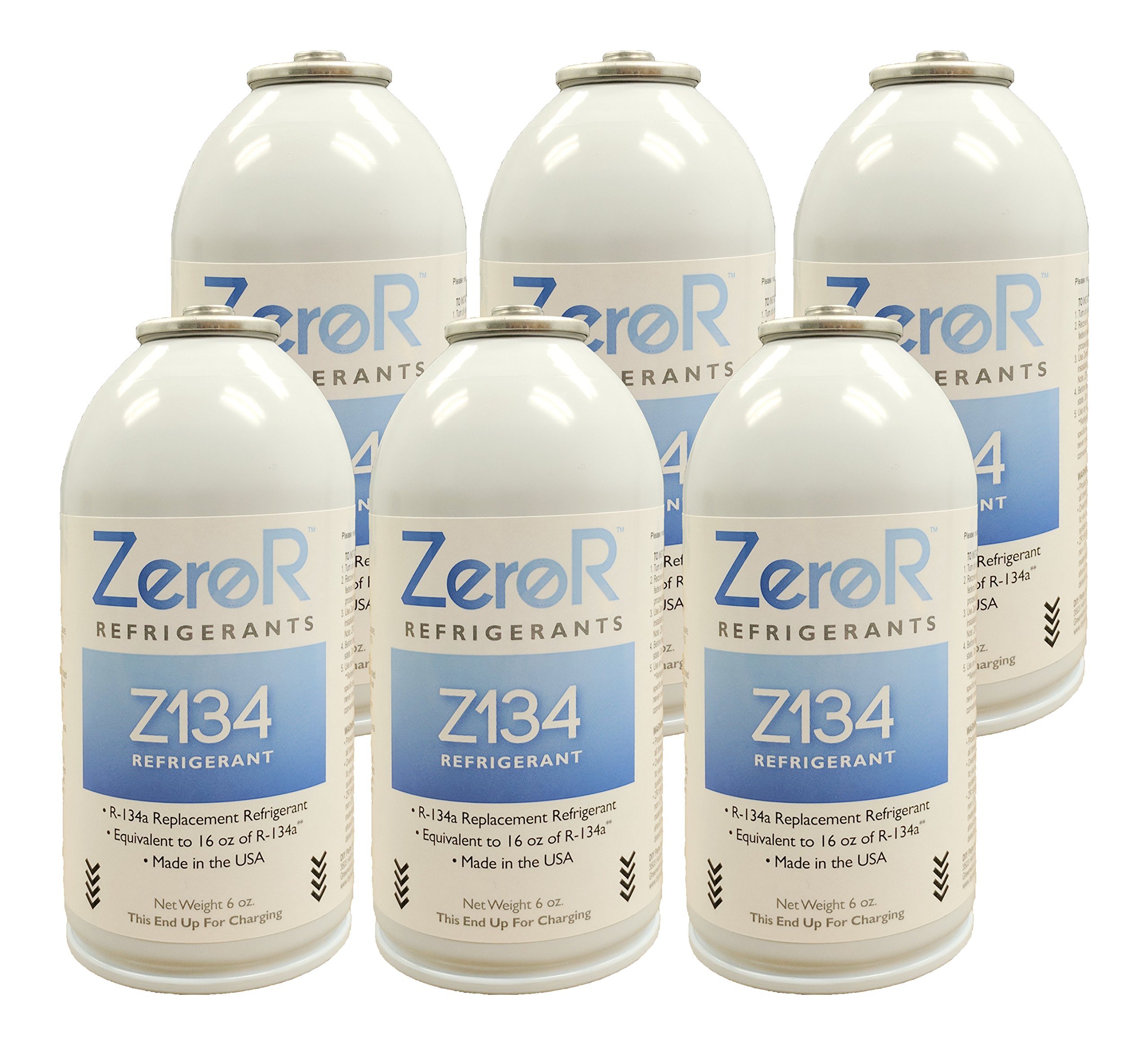 ZeroR Z134 Refrigerant - R134a Replacement - 6 Cans - Made in USA - Natural Non Ozone Depleting by ZeroR