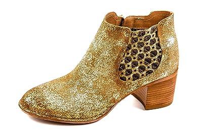 Felmini Damen Western Chelsea Boots Gold Kupfer