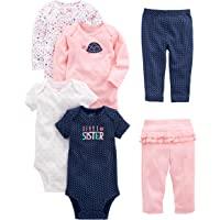 Simple Joys by Carter's 6-Piece Bodysuits (Short Long Sleeve) and Pants Set Bebé-Niñas, Pack de 6