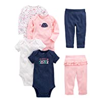 Simple Joys by Carter's Baby Girls' 6-Piece Bodysuits (Short and Long Sleeve) and...
