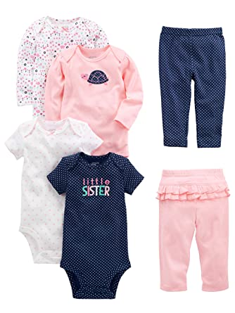 44284c8dc Amazon.com: Simple Joys by Carter's Baby Girls' 6-Piece Bodysuits (Short  and Long Sleeve) and Pants Set: Clothing