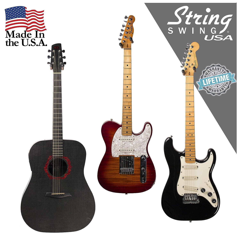 String Swing guitarra percha - Soporte para guitarras eléctricas y acústicas y bajos - Soporte accesorios hogar o estudio pared - Instrumentos musicales ...
