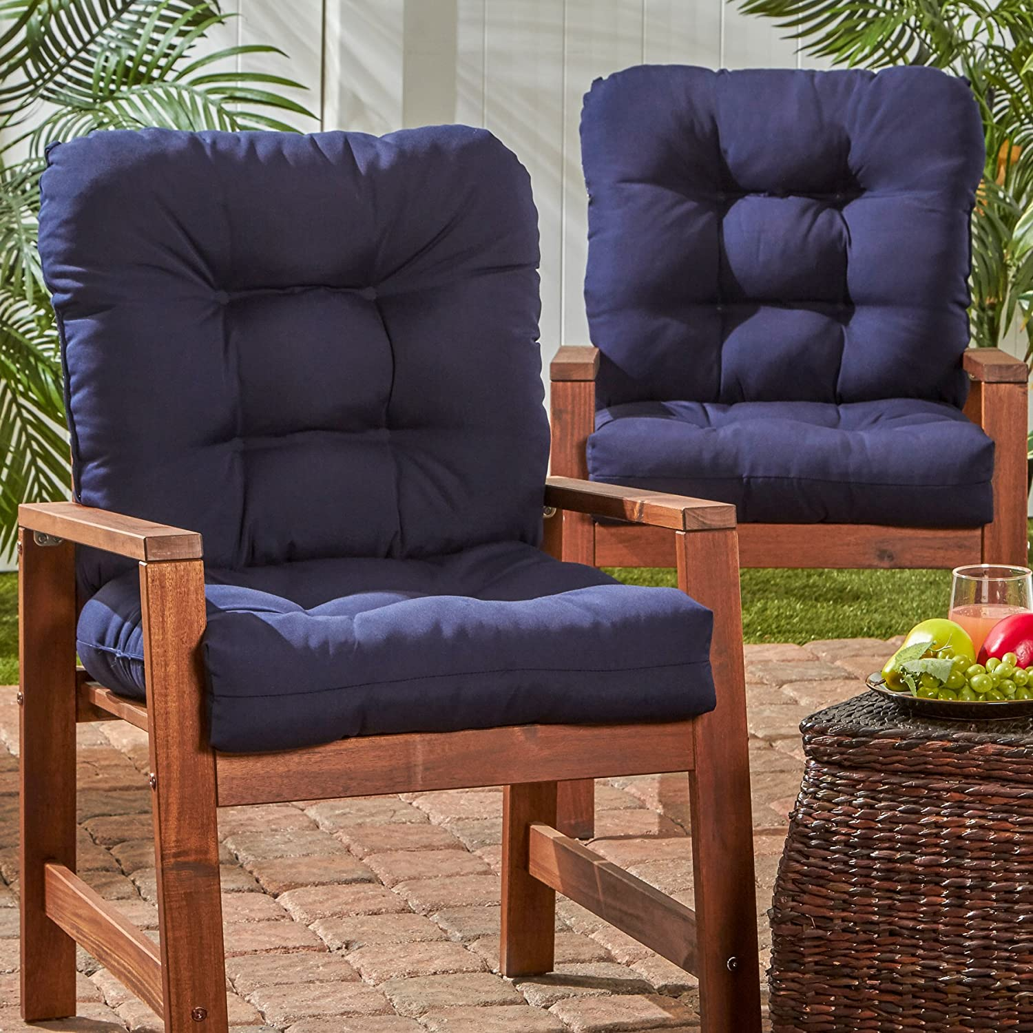 Greendale Home Fashions Outdoor Seat Back Chair Cushion set of 2 , Navy