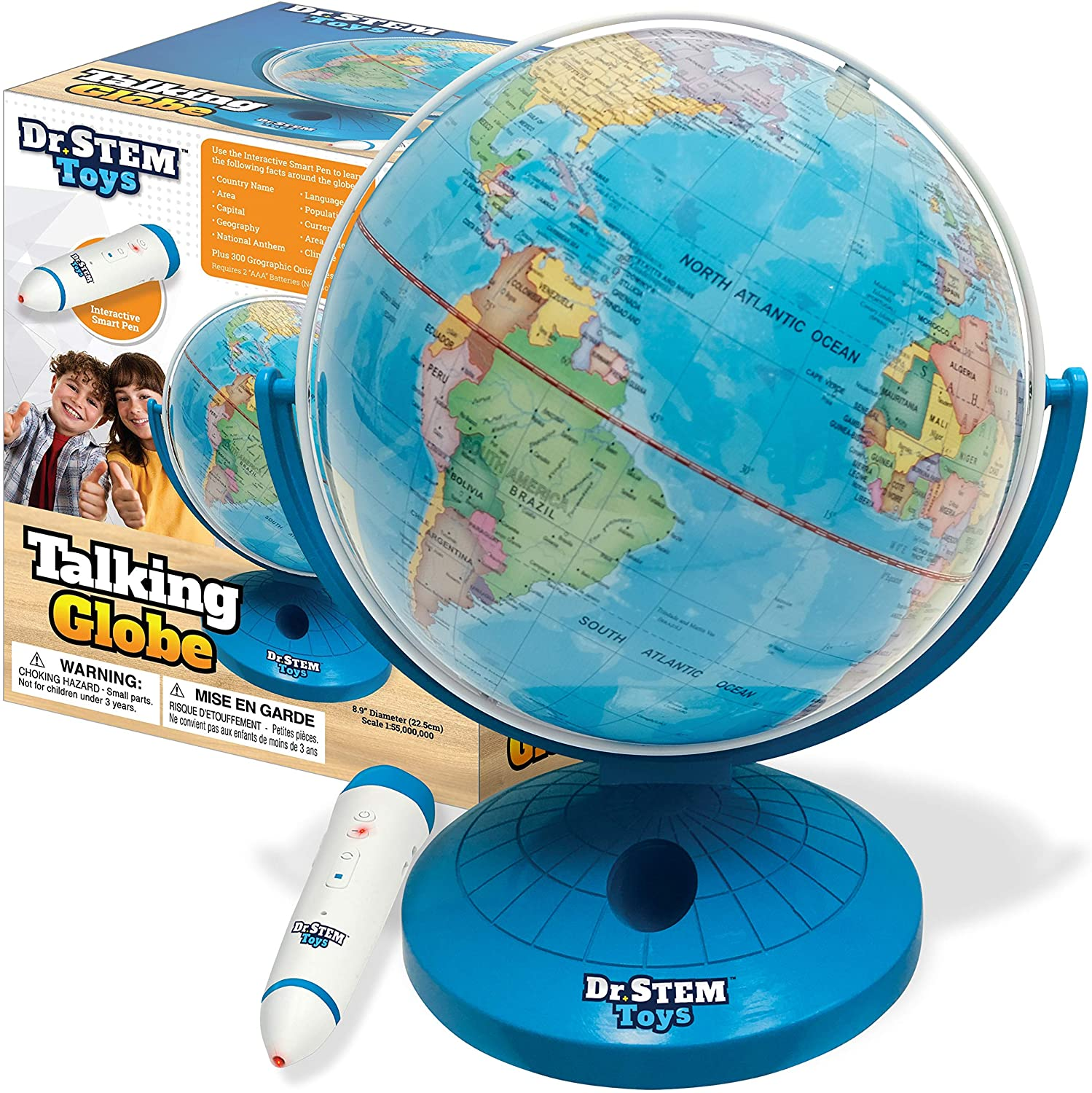 Dr. STEM Toys Talking World Globe with Interactive Stylus Pen and Stand, Colorful Map for Early Learning and Teaching - Includes Trivia, Q&A, and Music - 9 Inches in Height, Ages 6+