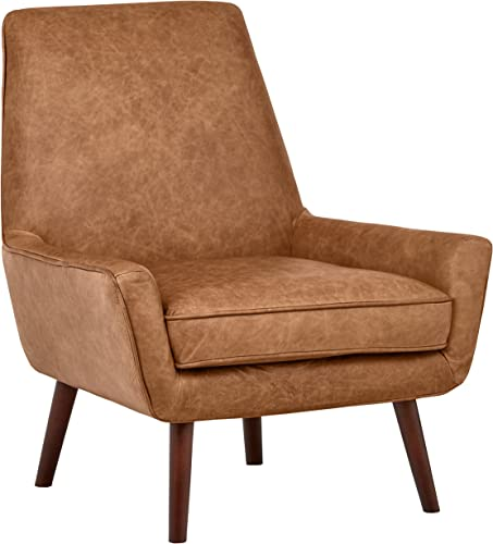 Rivet Jamie Leather Mid-Century Modern Low Arm Accent Chair, 31 W, Cognac