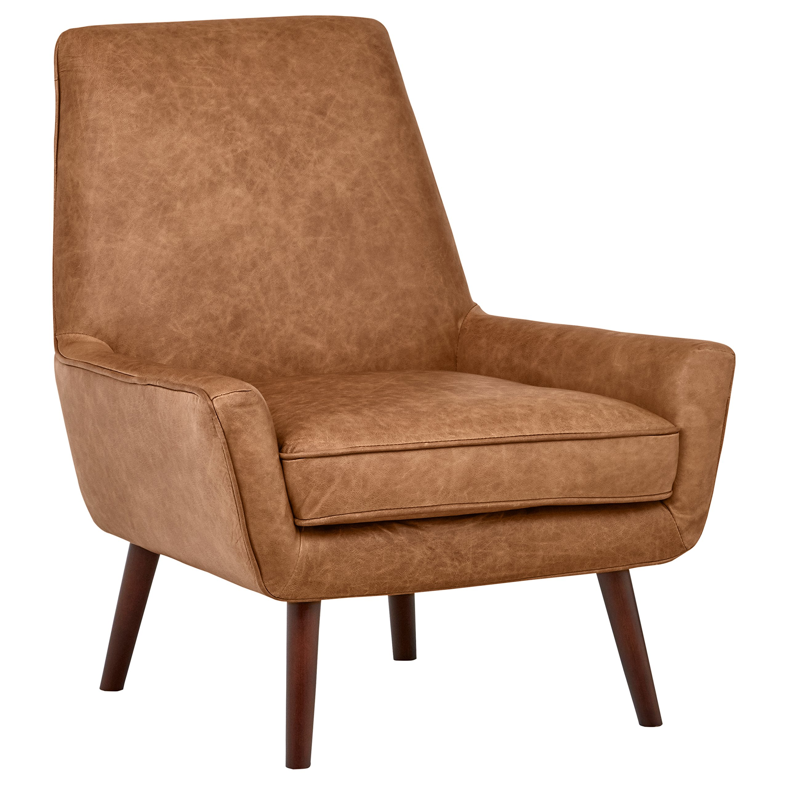 Rivet Jamie Mid Century Leather Low Arm Accent Chair, 31
