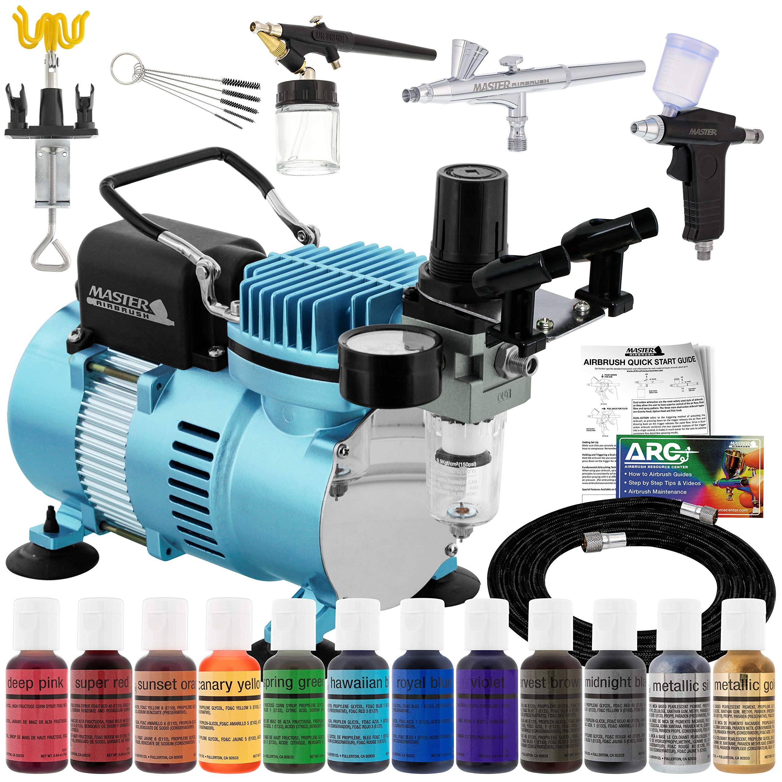 Master Airbrush Cool Runner II Dual Fan Air Compressor Pro Cake Decorating System Kit with 3 Airbrushes, Gravity and Siphon Feed, 12 Color Chefmaster Food Coloring Set - How-To Guide, Cupcake, Cookie