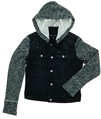 Black Rivet Women's Button Closure Hooded Denim Jacket at Amazon ...