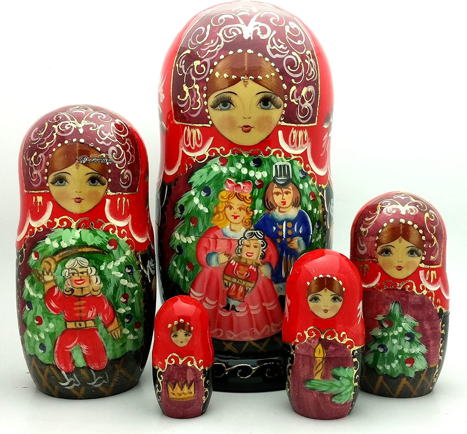 5 1//2x3 Matreshka Doll 5 Nested Hand Carved hand Painted NEW