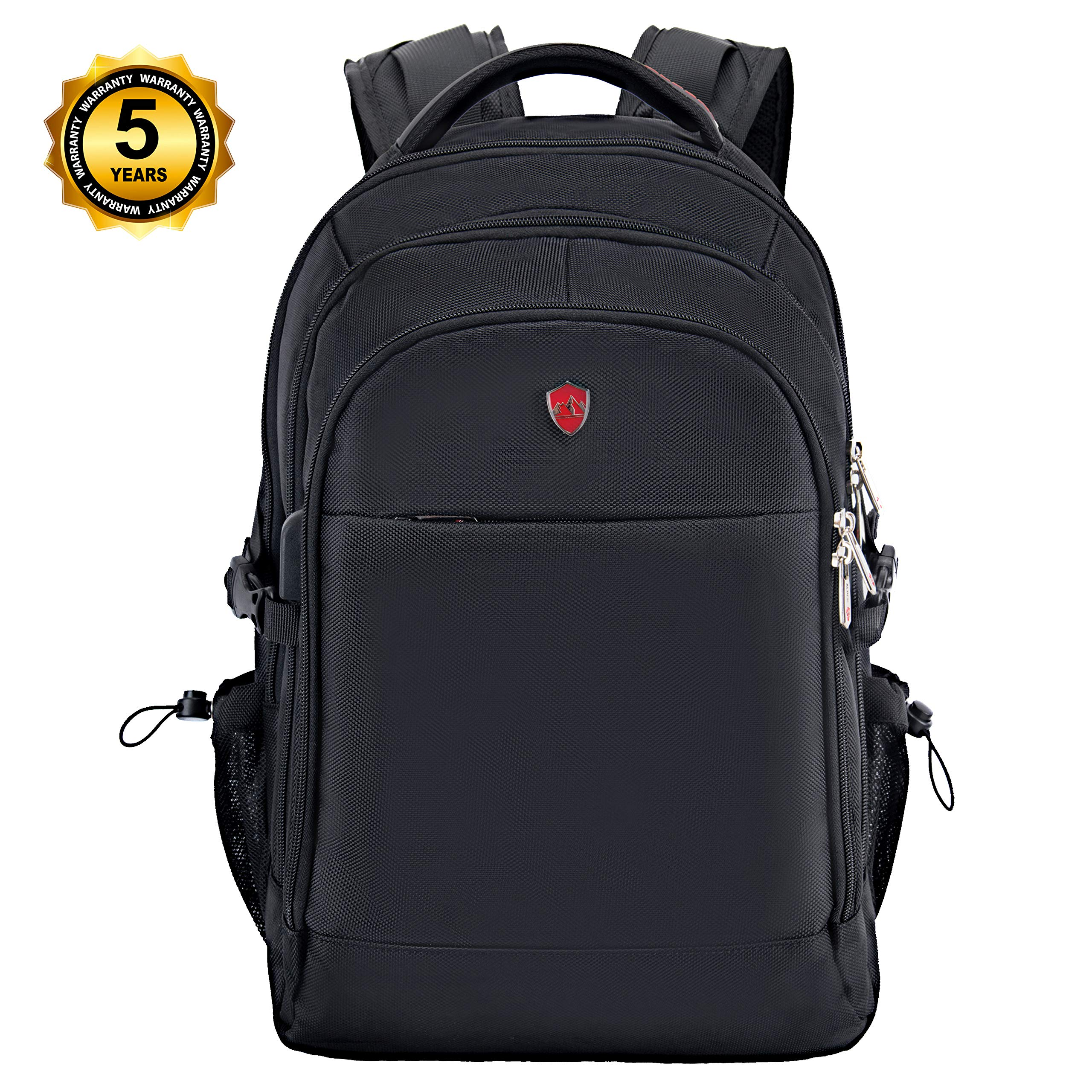 Swiss Alpen - Combin Backpack - Water Resistant Durable 1680D Large Laptop Backpack for Travel, School & Business - Fits 15.6'' Laptop with USB Charging Port - Black Exclusive by Swiss Alpen