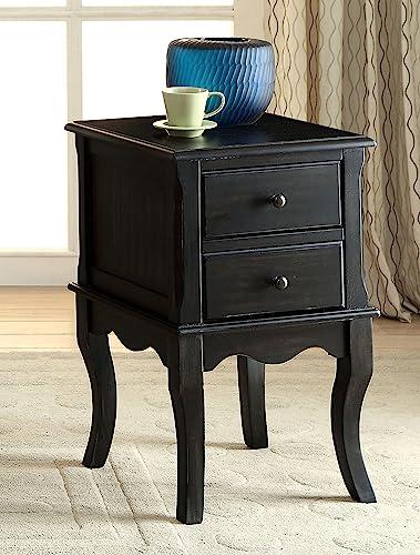 Furniture of America Junie Side Table, Antique Black