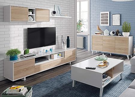 Increíble conjunto de comedor salón de estilo nórdico compuesto por un mueble modular para la televi
