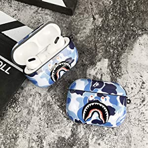 Shark Teeth Camo Softshell Silicone AirPods Pro IMD Case for Apple AirPods Pro 3, Wireless Charging Case Protective Cover and Skin Supreme Girls Boys Women Kids Teens Airpods Pro (Blue)