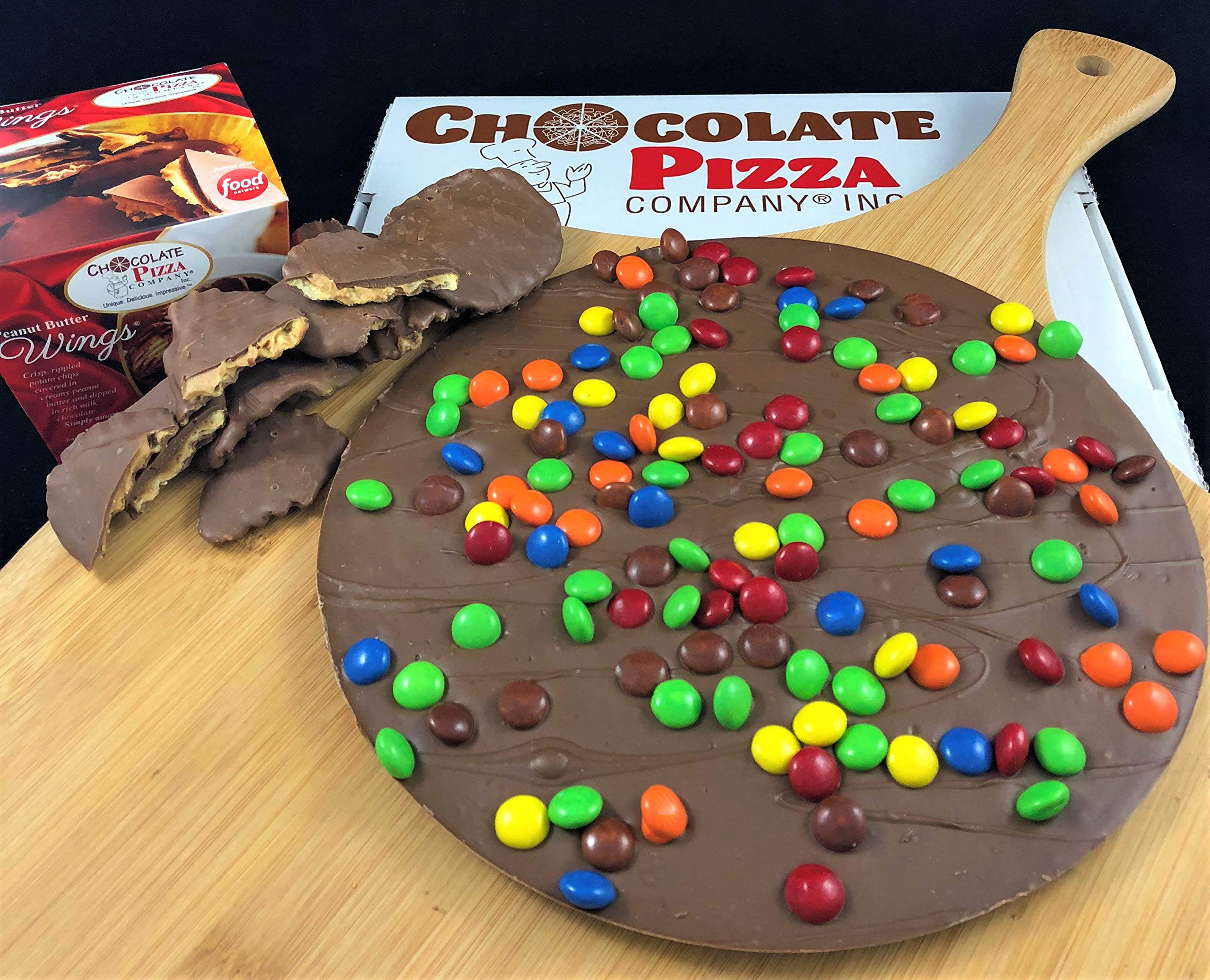 Chocolate Pizza®, Candy Topped, 16 Ounce and Peanut Butter Wings®, 8 Ounce, Made in USA by Chocolate Pizza Company