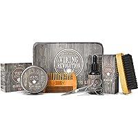 Viking Revolution Beard Care Kit for Men - Ultimate Beard Grooming Kit includes 100% Boar Men's Beard Brush, Wooden…