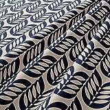 MIRABLAU DESIGN Stoffverkauf Baumwolle Leinen Canvas grafisches Retro Blumenmuster in blau auf natur beigem Grund (4-175M), 0,5m