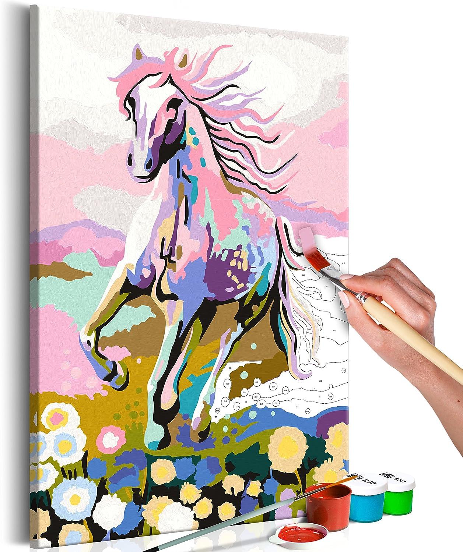 murando Pintura por Números Cuadros de Colorear por Números Kit para Pintar en Lienzo con Marco DIY Bricolaje Adultos Niños Decoracion de Pared Regalos - Caballo 40x60 cm – DIY n-A-0178-d-a