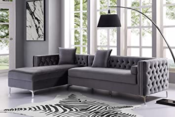 amazon com inspired home grey chaise sectional sofa design rh amazon com