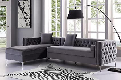 Awesome Giovanni Grey Chaise Sectional Sofa   115u0026quot; Left Facing | Velvet Tufted  | Storage |