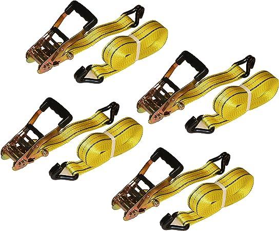 """Set of 4 Ratchet Straps 2/""""x27/' J-Hook Heavy Duty Steel 10,000 lbs Tie Down"""