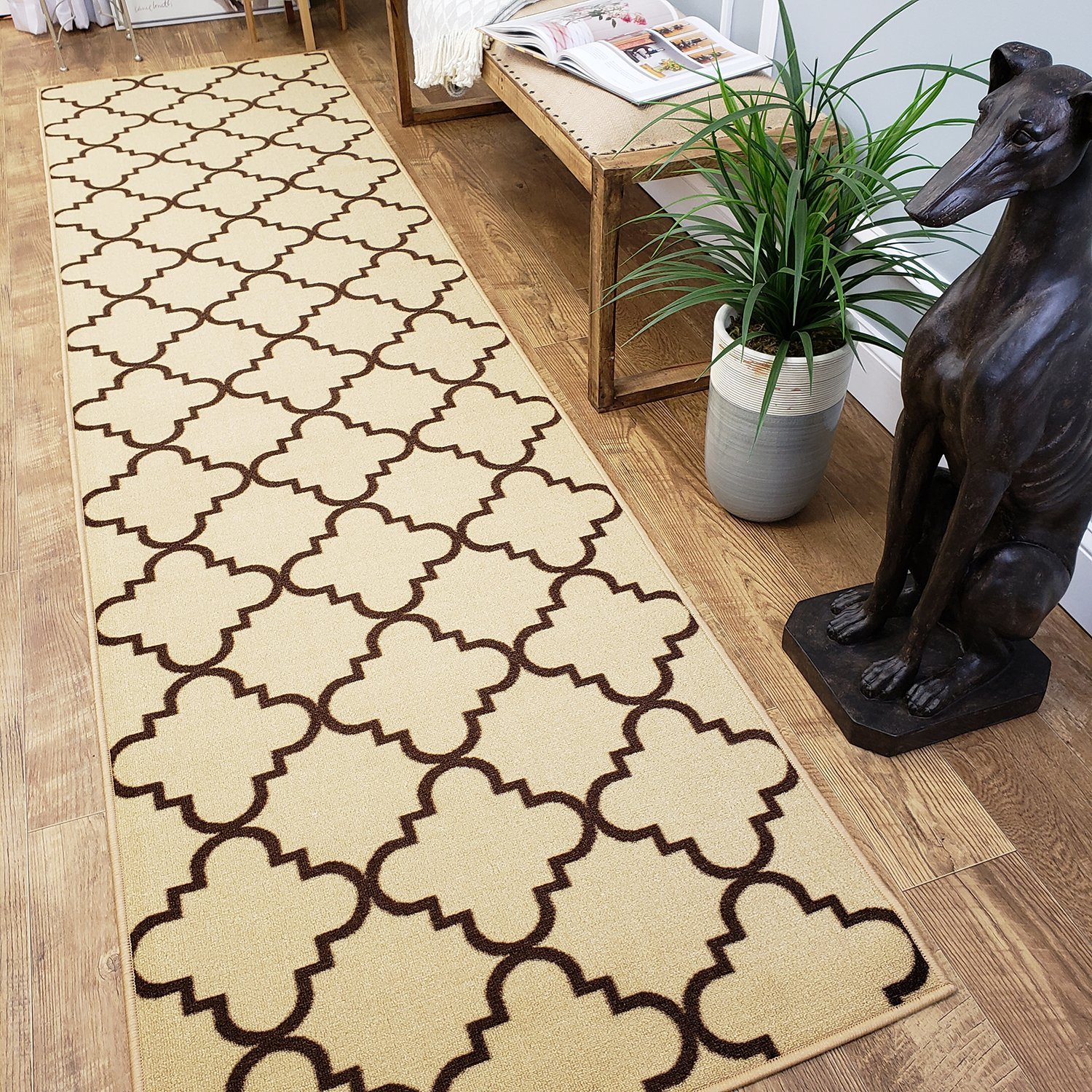 CUSTOM CUT 22-inch Wide by 10-feet Long Runner, Beige Moroccan Trellis Non Slip, Non-Skid, Rubber Backed Stair, Hallway, Kitchen, Carpet Runner Rug - Choose your Width by Length