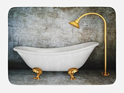 Lunarable Retro Bath Mat Vintage Bathtub In Room With Grunge Wall Lifestyle Resting Spa Theme Art Print Plush Bathroom Decor Mat With Non Slip