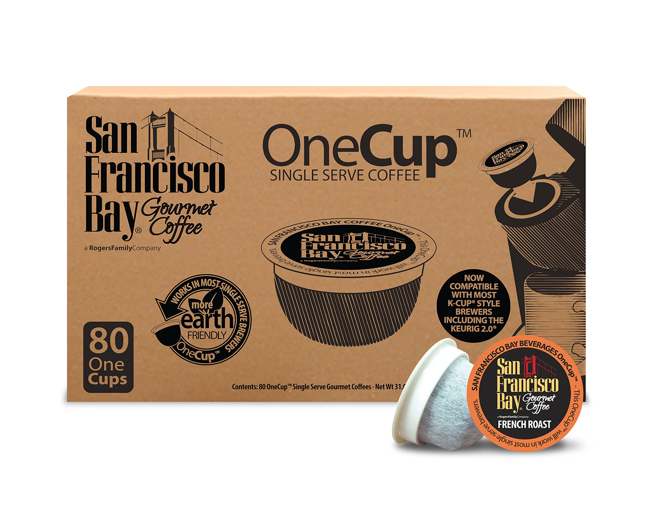 San Francisco Bay OneCup, French Roast, 80 Count- Single Serve Coffee, Compatible with Keurig K-cup Brewers by SAN FRANCISCO BAY