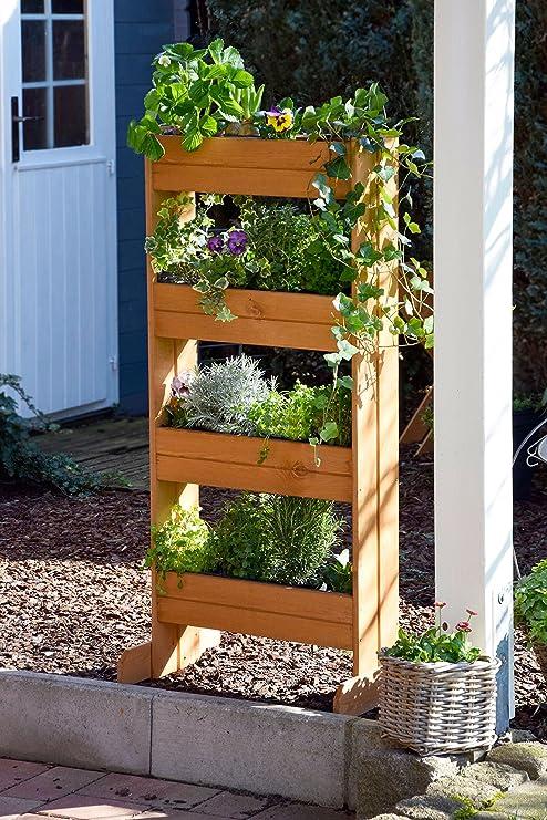 Dobar Cama de flores vertical con 4 maceteros de madera, cama ...