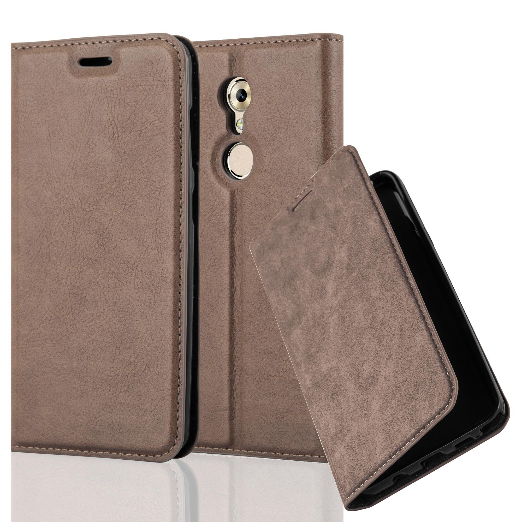 Cadorabo Case works with ZTE AXON 7 MINI Book Case in COFFEE BROWN (Design INVISIBLE CLOSURE) – with Magnetic Closure, Stand Function and Card Slot – Wallet Case Etui Cover PU Leather