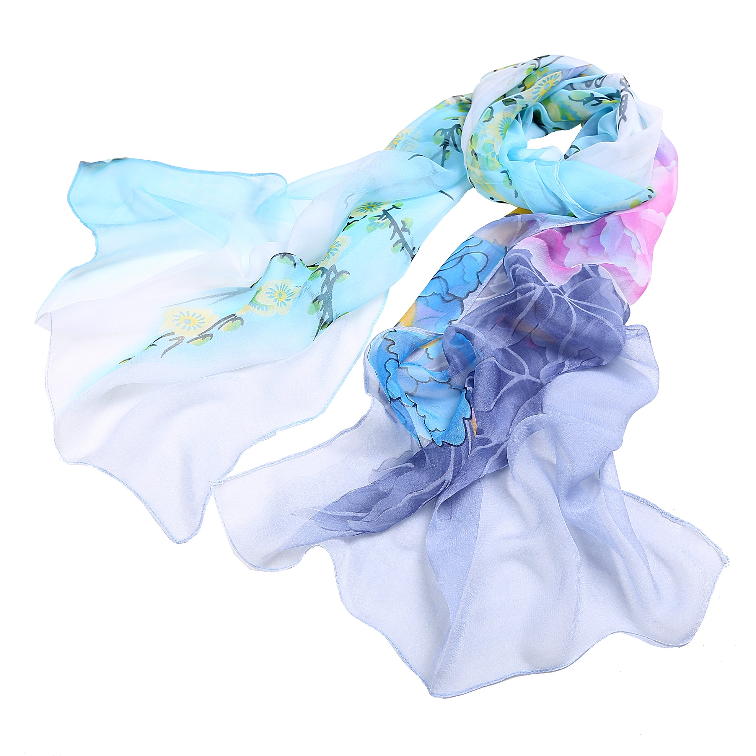 Fashion Flower Ink Style Soft Silk Voile Scarves Wrap Shawl (Multi-color/4)