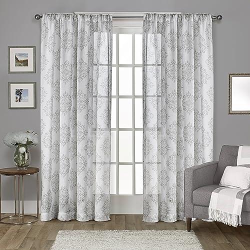 Exclusive Home Curtains Nagano Medallion Belgian Linen Window Curtain Panel Pair