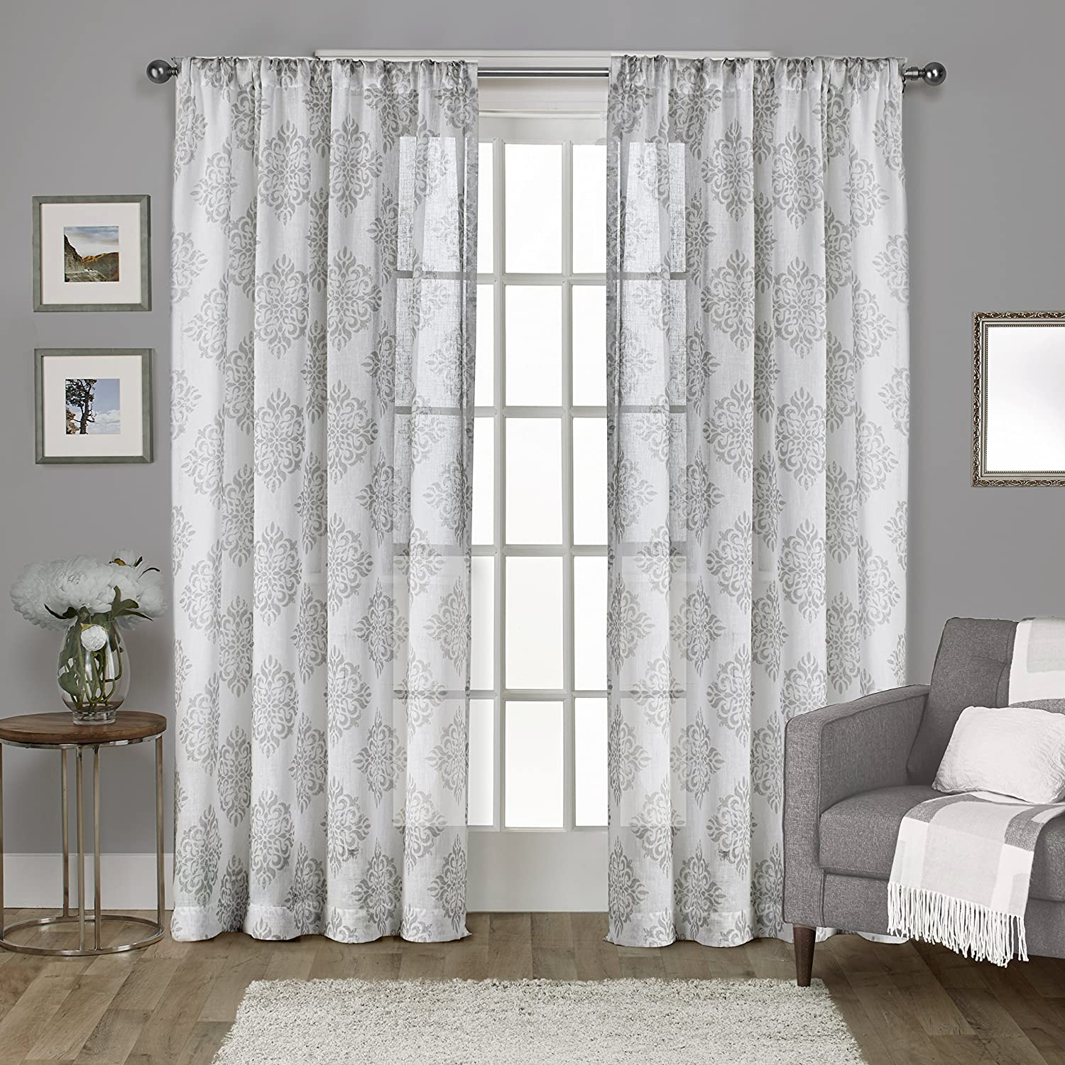 Exclusive Home Curtains Nagano Medallion Belgian Linen Window Curtain Panel Pair with Rod Pocket, 54x96, Dove Grey, 2 Piece