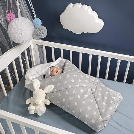 BlueberryShop manta de algodón para bebés con almohada   Saco de dormir para bebés recién nacidos   Regalo perfecto para Baby Shower   78 x 78 cm   Grises Estrellas