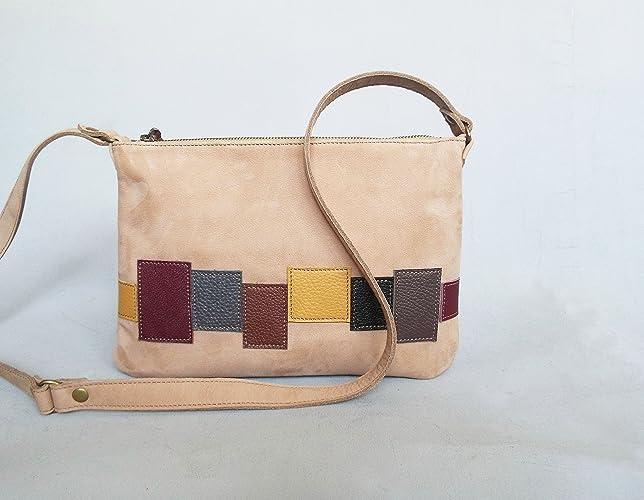 Amazon.com: leather small bag beige nude nubuck leather crossbody