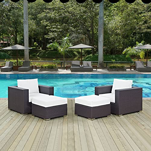 Modway Convene Wicker Rattan 4-Piece Outdoor Patio Furniture Set in Espresso White
