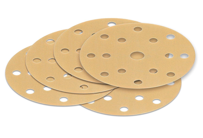 gold Film 15 Loch 5 St/ück 150 mm Exzenter Schleifscheiben P180 K/örnung Haft Klett Schleifpapier