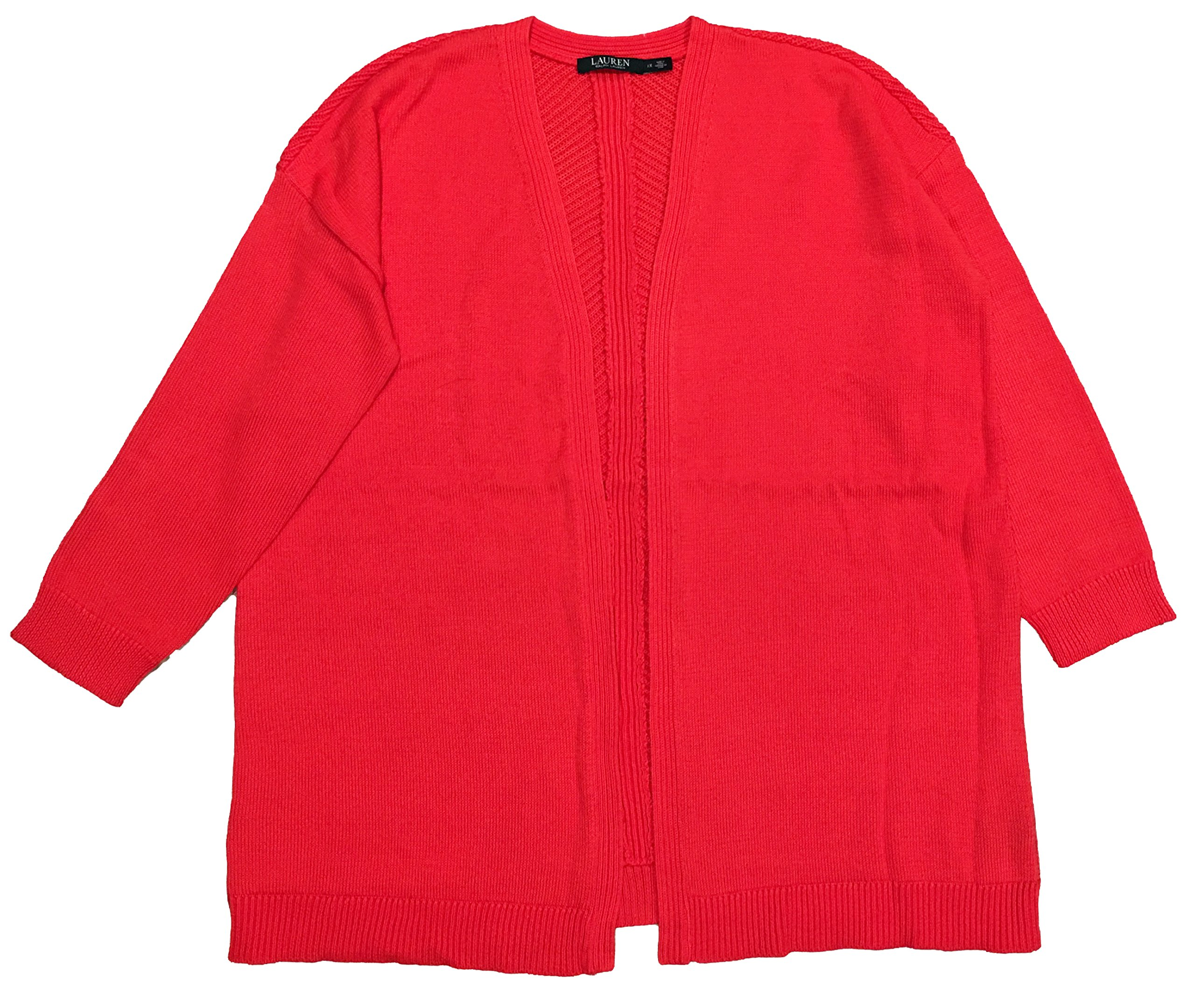 Lauren Ralph Lauren Woman Plus Size Rib-Back Open-Front Cardigan (1X, Red)