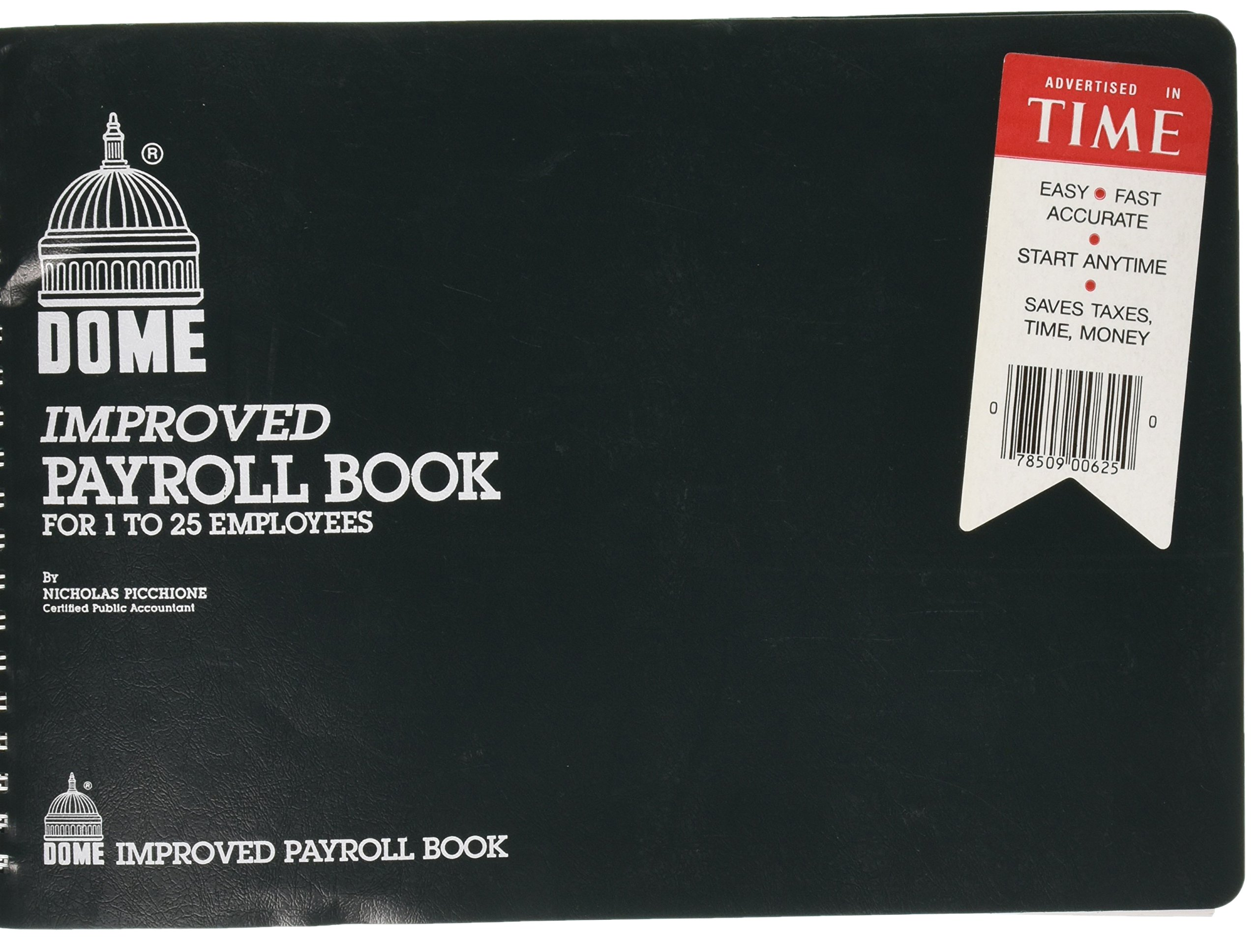 Dome Improved Payroll Book For 1 to 25 Emplyees 10''X6.5''