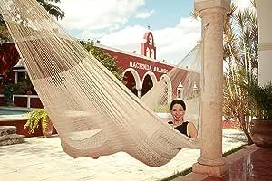 Hamaca Tradicional Maya color Crudo Grande (Envío Gratis) Incluye bolsa ecológica y par de sogas - Material 100% Algodón - HECHO EN YUCATAN