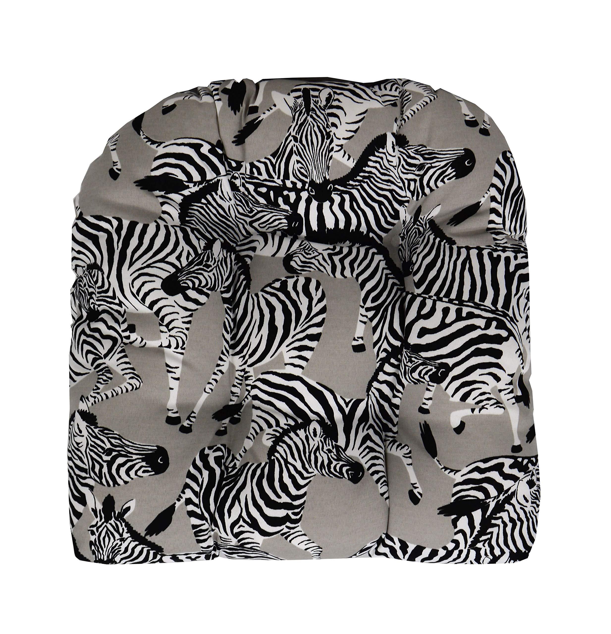 "RSH Décor Indoor Outdoor Wicker Tufted U - Shape Chair Cushion - Black, Grey/Gray & White Zebra Fabric Cushion (19""W x 19""D)"