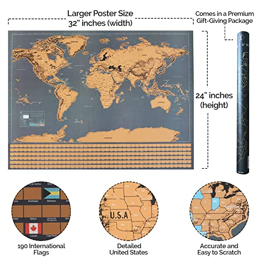 Amazon ilium brands large scratch world travel map poster amazon ilium brands large scratch world travel map poster premium blackgold metallic finish and vibrant color detailed united states wall and globe gumiabroncs Choice Image