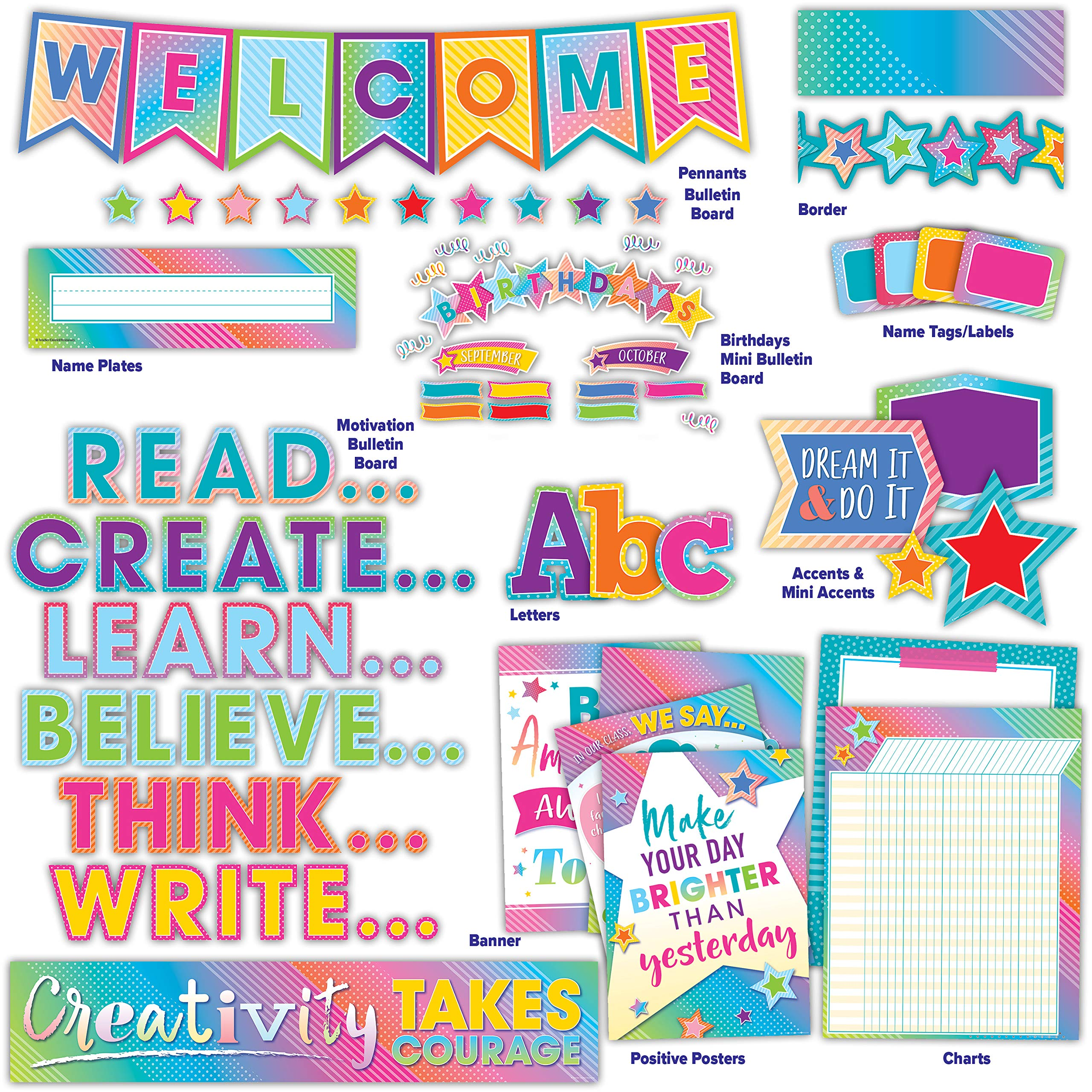 Colorful Vibes Classroom Environment Décor All in One Kit