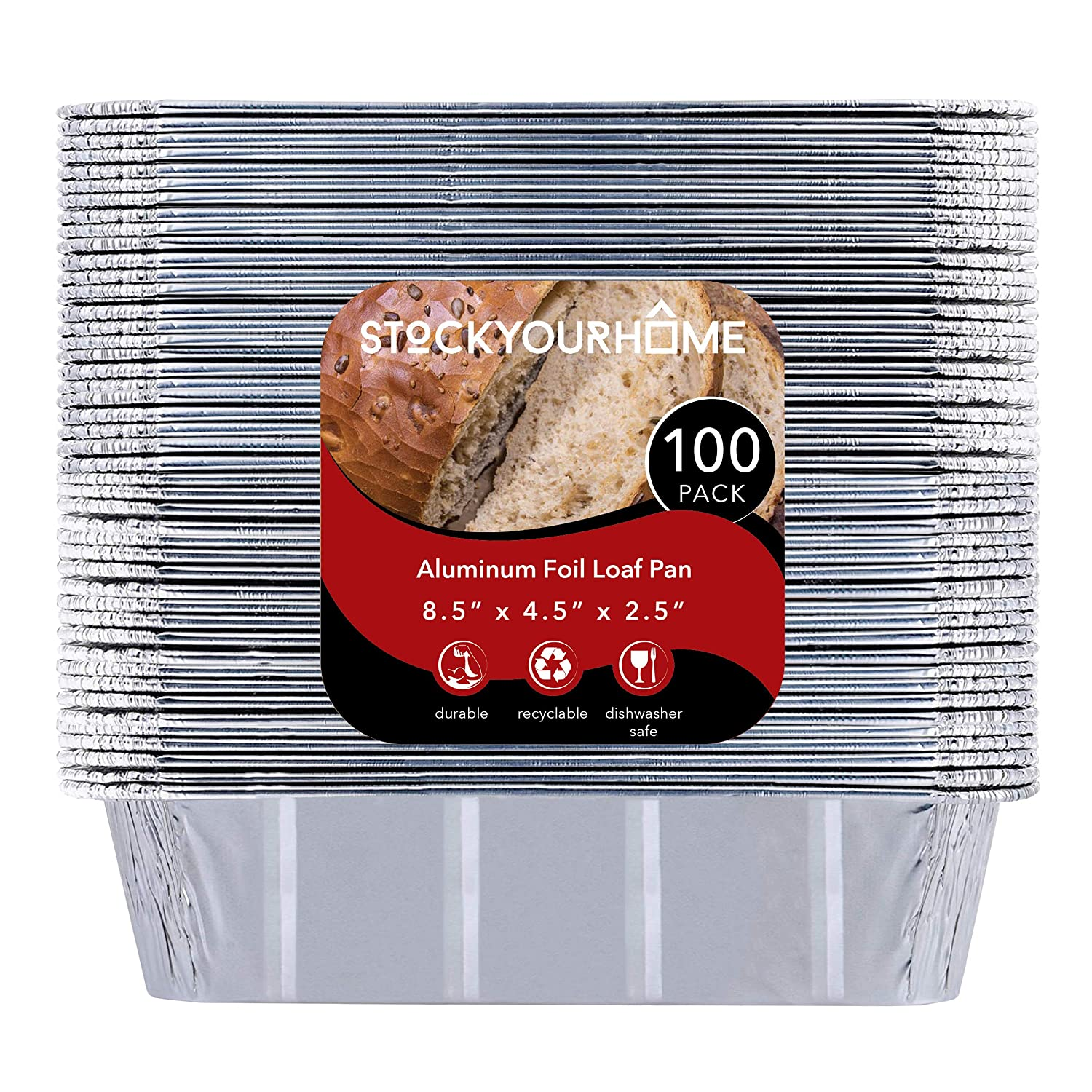 "2 lb Aluminum Foil Loaf Pans (100 Pack) - Disposable Standard Size Bread & Meatloaf Pan Great for Restaurant, Party, BBQ, Catering, Baking, Cooking, Heating, Storing Food – 8.5"" x 4.5"" x 2.5"""