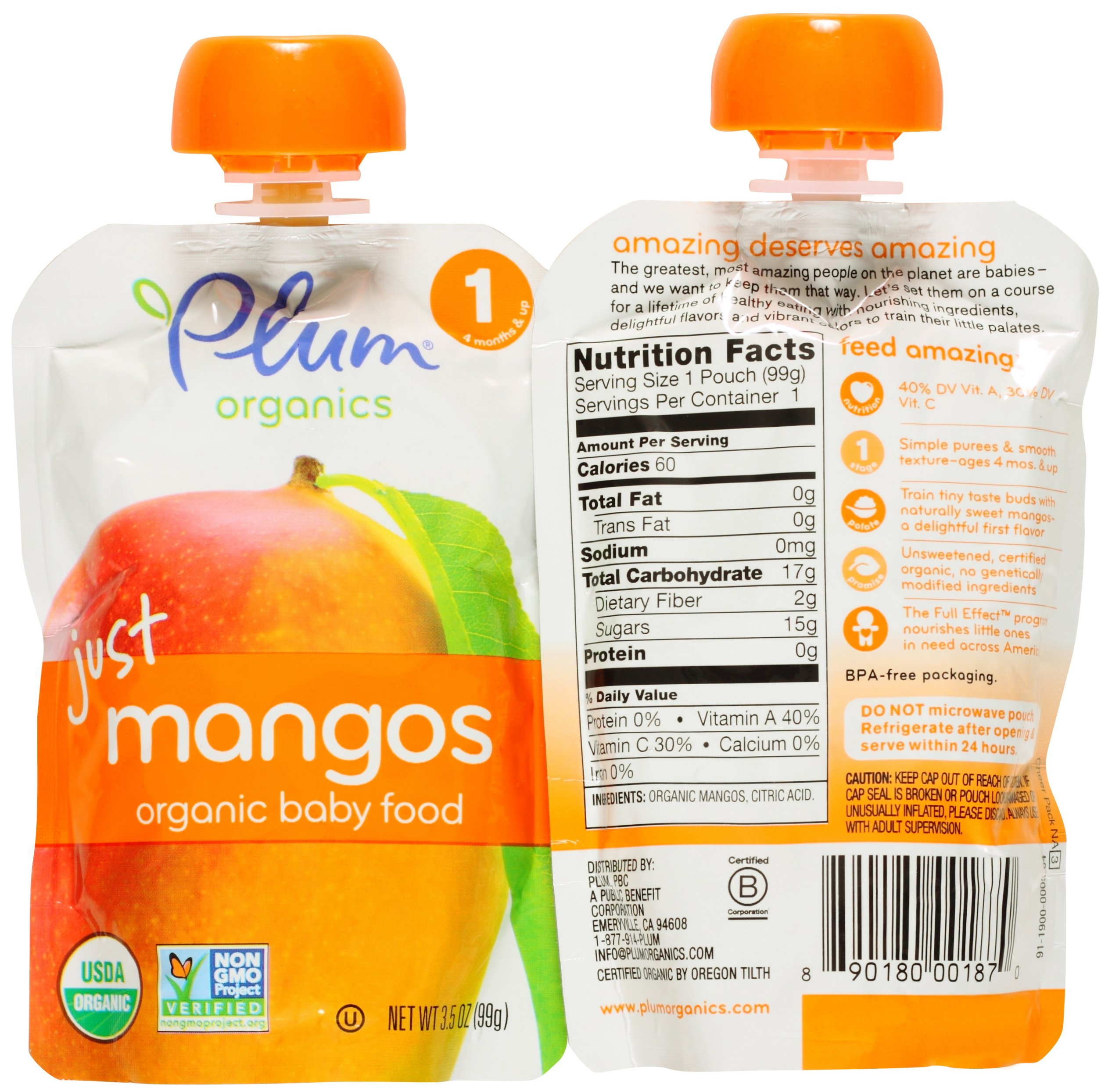 Plum Organics Stage 1 Just Fruit & Veggies Variety Pouch Bundle: (2) Just Prunes 3.5oz, (2) Just Mangos 3.5oz, (2) Just Sweet Potato 3oz, and (2) Just Peaches 3.5oz (8 Pack Total) by Plum Organics (Image #3)