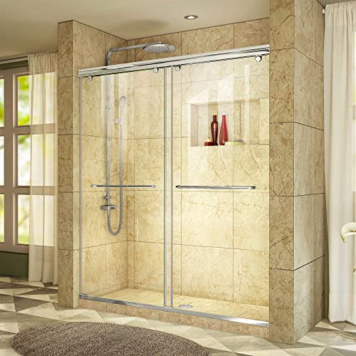 DreamLine Charisma 56-60 in. W x 76 in. H Frameless Bypass Sliding Shower Door in Chrome, SHDR-1360760-01