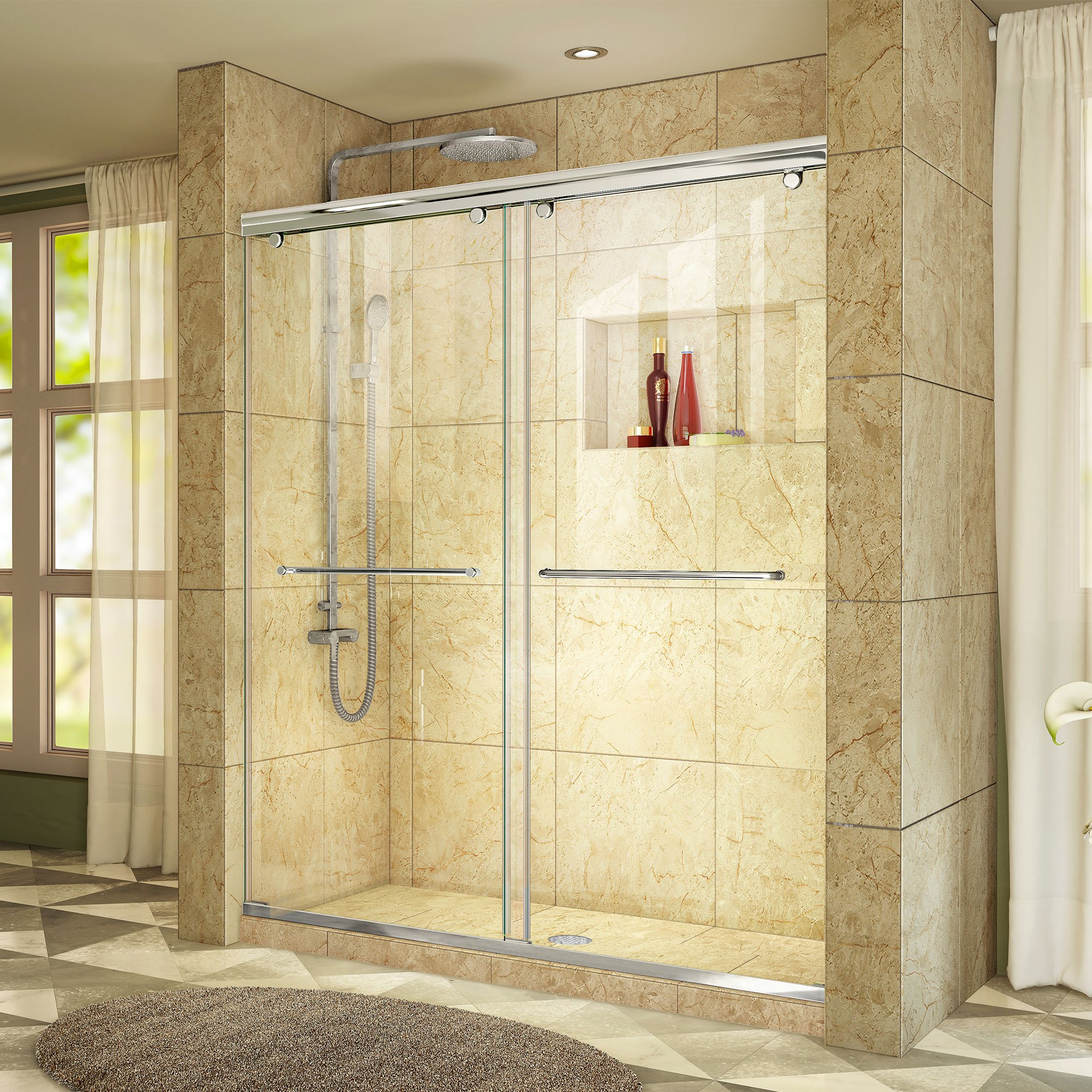 DreamLine Charisma 56-60 in. W x 76 in. H Frameless Bypass Sliding Shower Door in Chrome, SHDR-1360760-01 by DreamLine