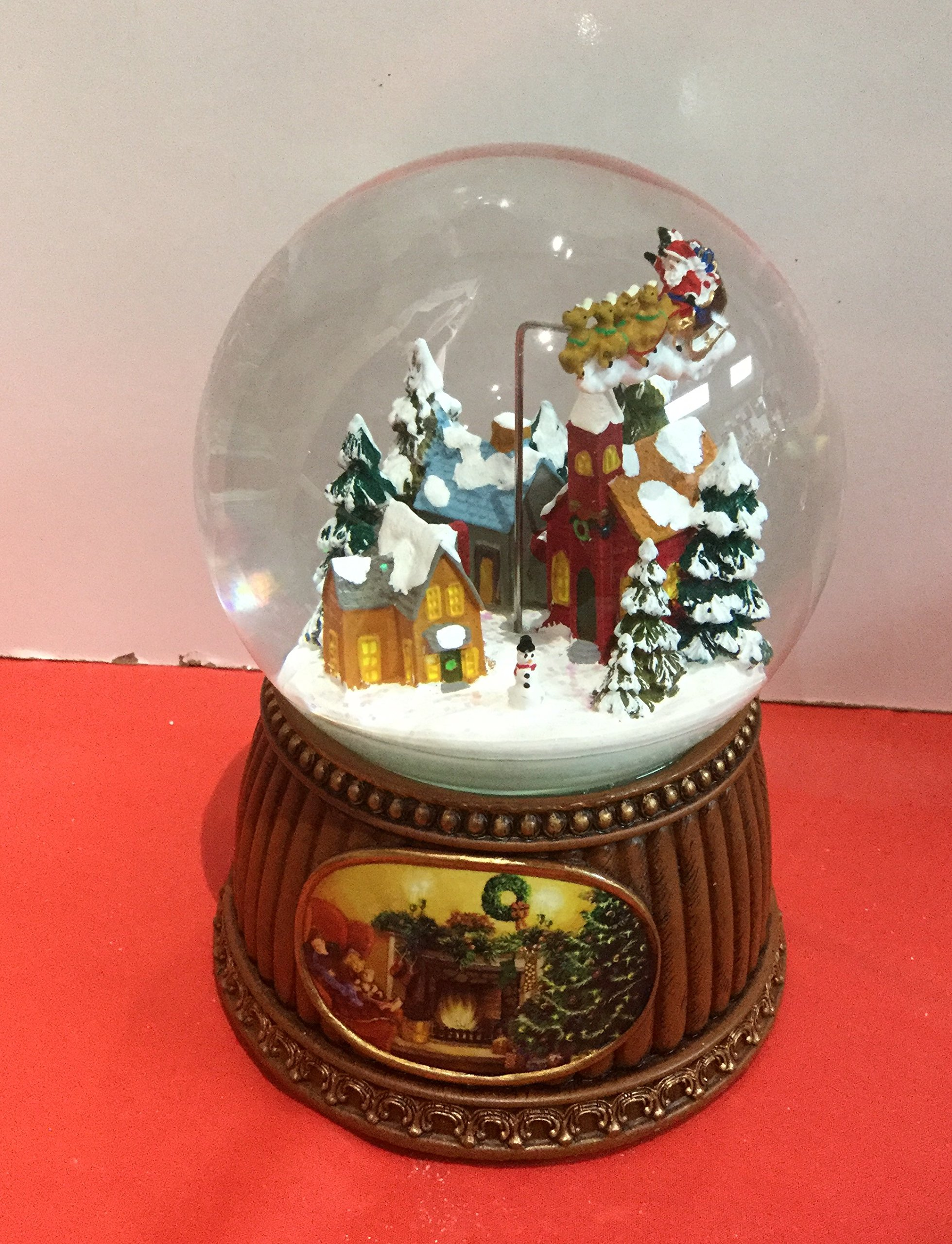 5'' Village With Sleigh Rotate Glitter Dome 100mm Plays Here Comes Santa Claus by Roman